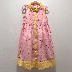 Laura Ashley Girls Pink Dress With Yellow Gingham